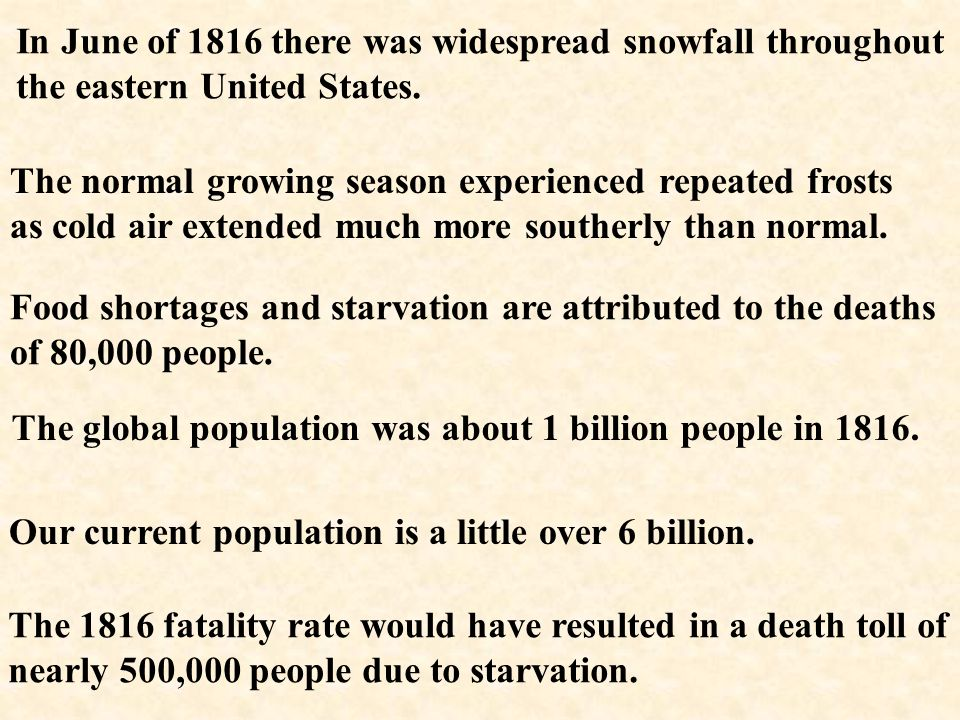 In June of 1816 there was widespread snowfall throughout the eastern United States.
