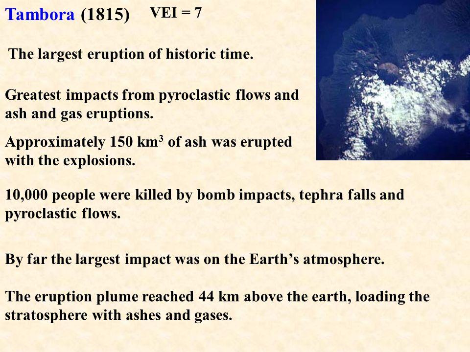 Tambora (1815) VEI = 7 The largest eruption of historic time.
