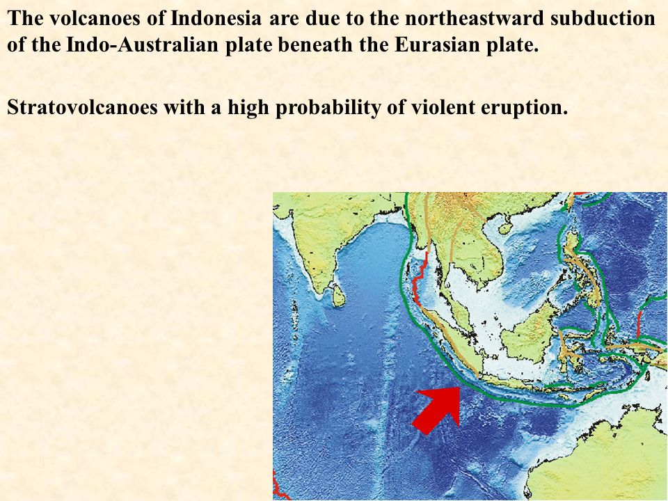 The volcanoes of Indonesia are due to the northeastward subduction of the Indo-Australian plate beneath the Eurasian plate.
