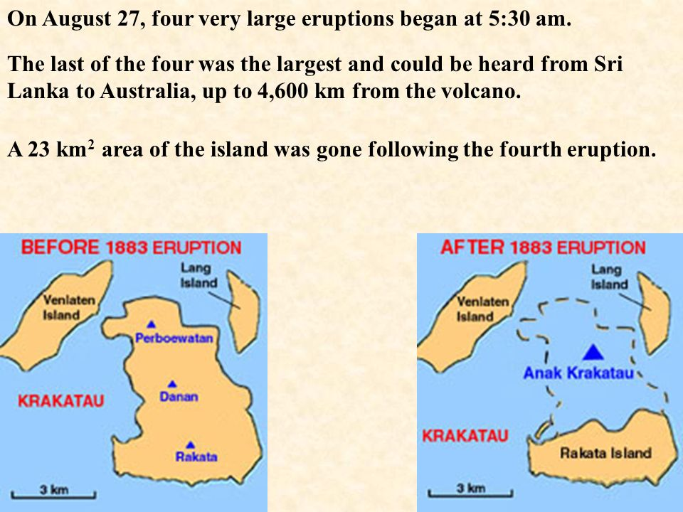 On August 27, four very large eruptions began at 5:30 am.