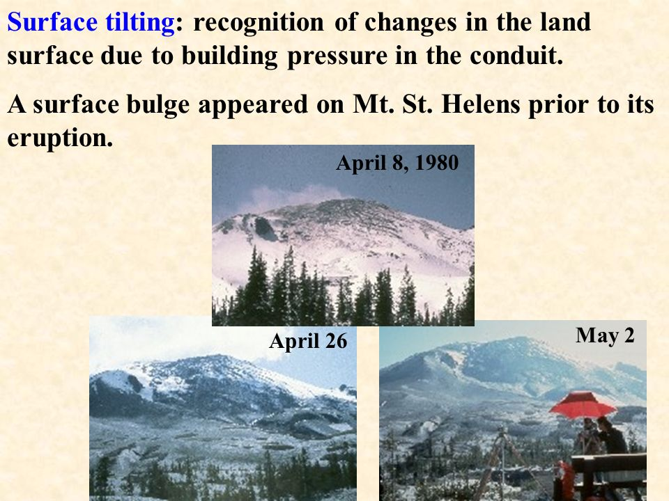 A surface bulge appeared on Mt. St. Helens prior to its eruption.