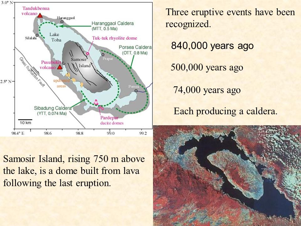 Three eruptive events have been recognized.