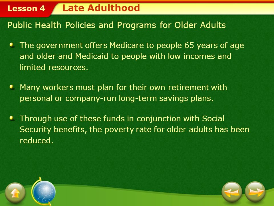 Late Adulthood Public Health Policies and Programs for Older Adults