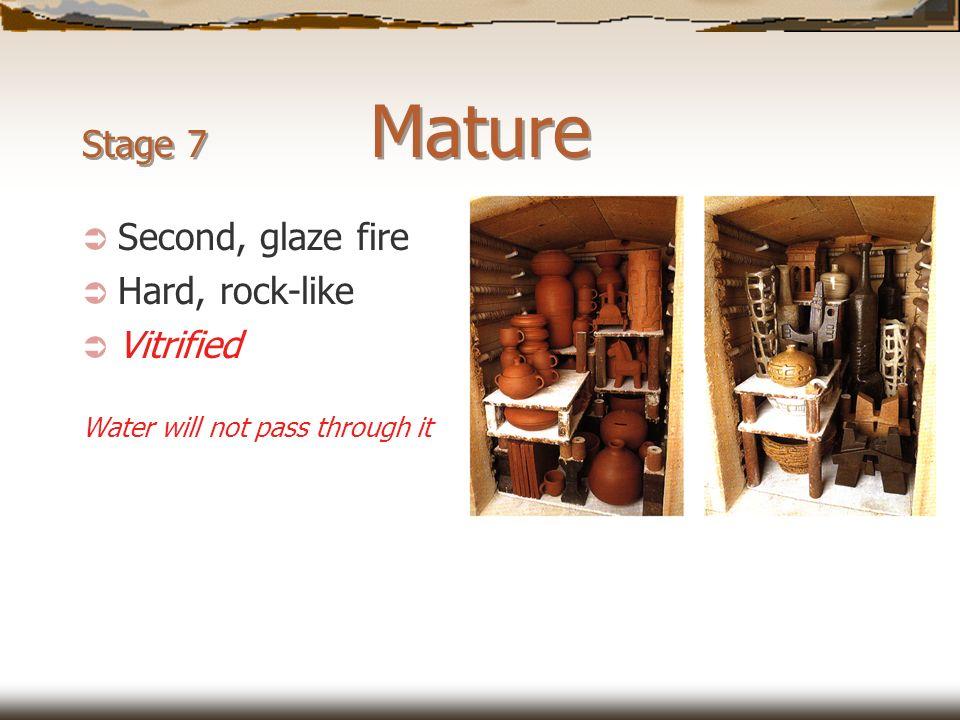 Stage 7 Mature Second, glaze fire Hard, rock-like Vitrified