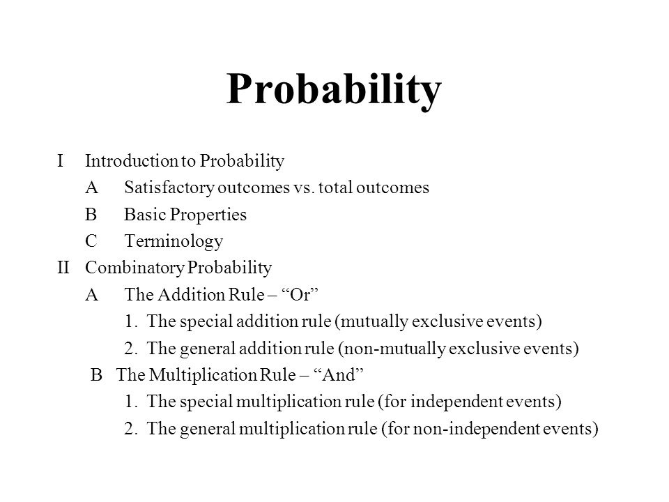 Probability I Introduction to Probability
