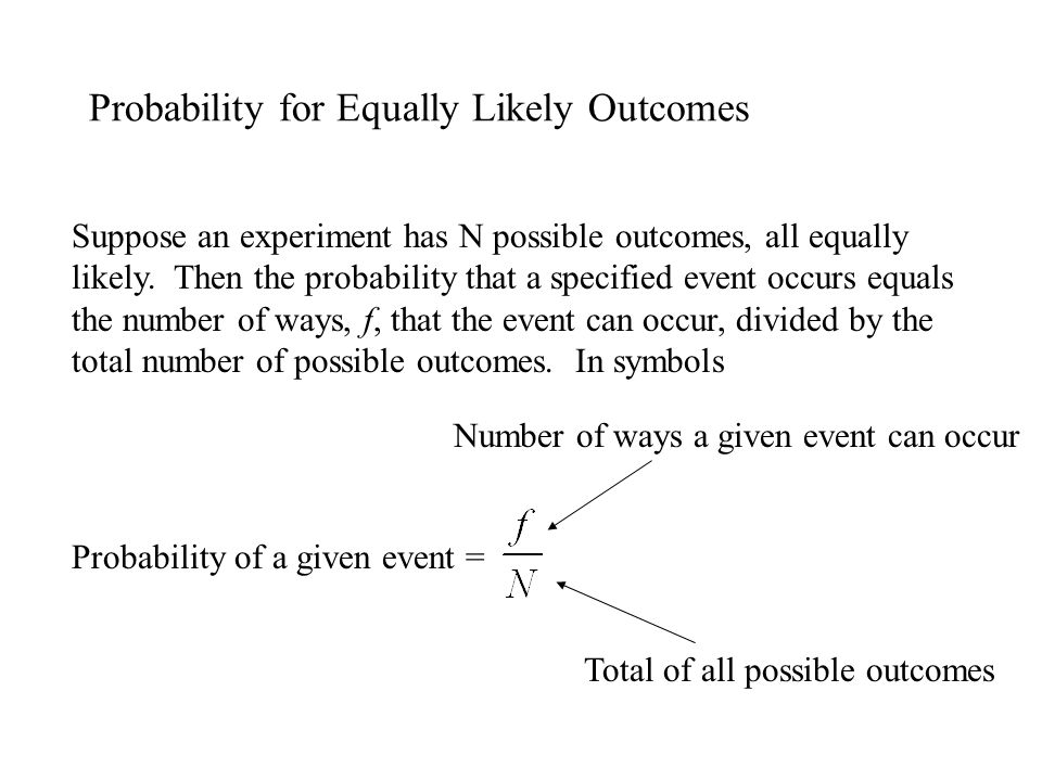 Probability for Equally Likely Outcomes
