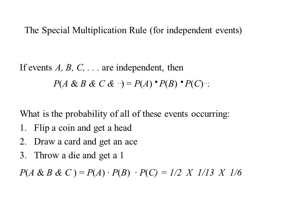 The Special Multiplication Rule (for independent events)