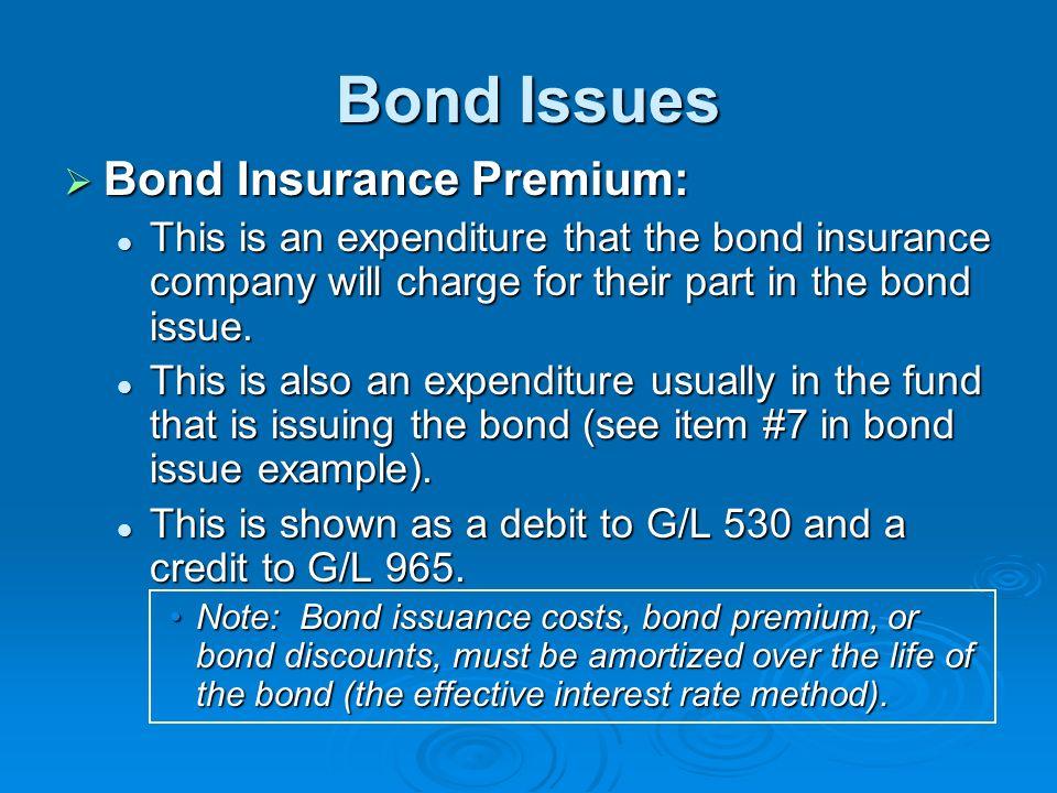Bond Issues Bond Insurance Premium: