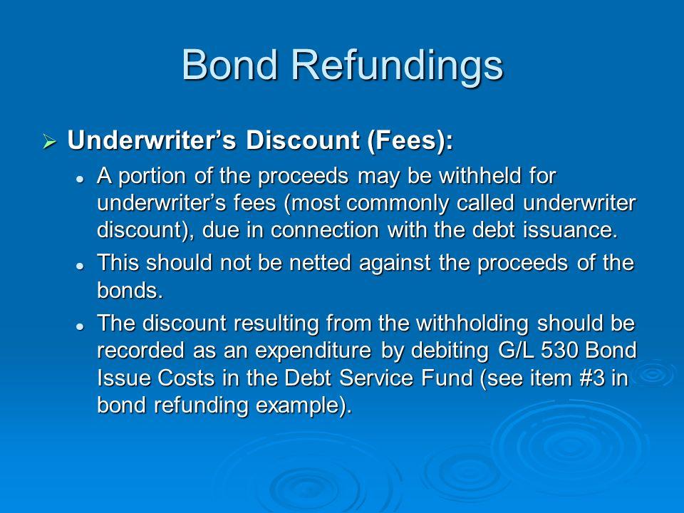 Bond Refundings Underwriter's Discount (Fees):