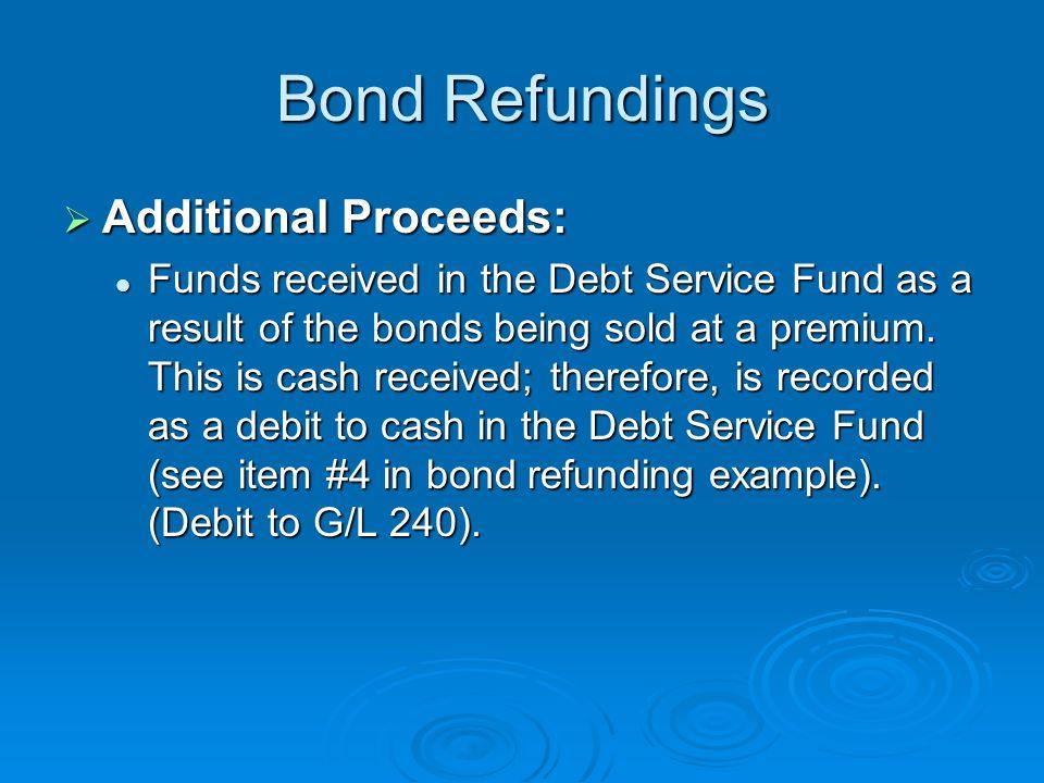 Bond Refundings Additional Proceeds: