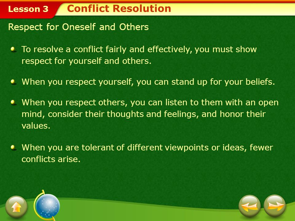 Conflict Resolution Respect for Oneself and Others