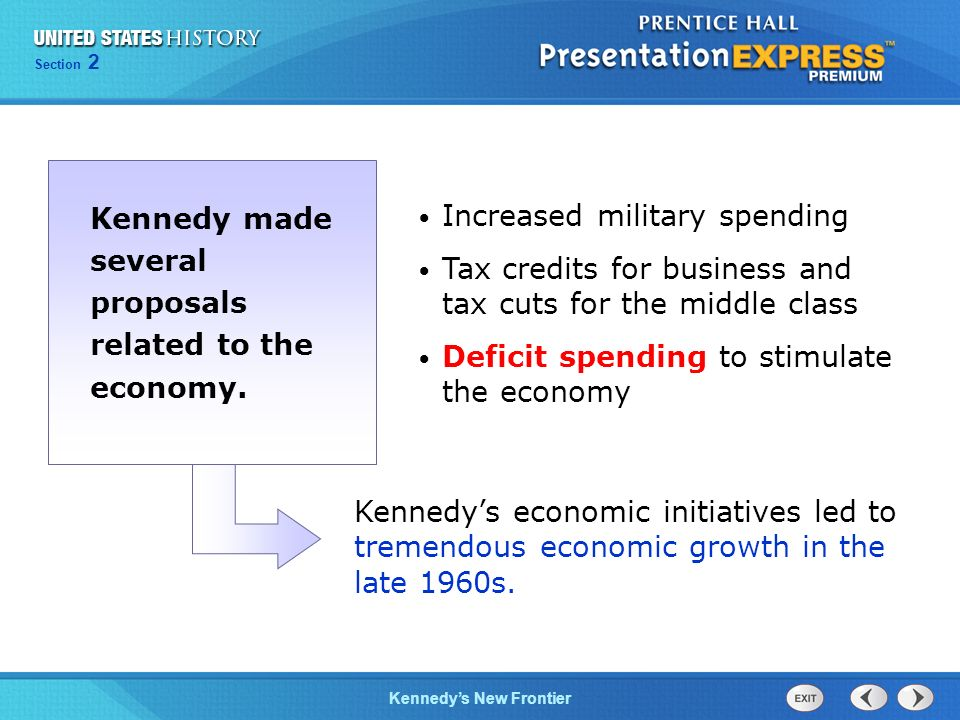 Kennedy made several proposals related to the economy.