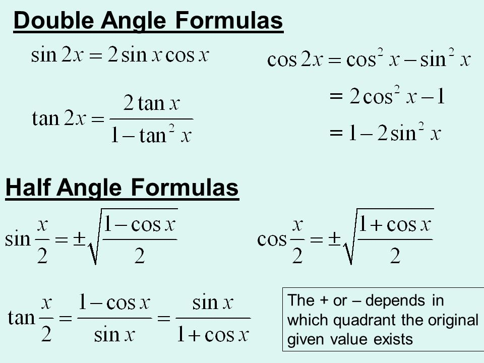 Double Angle Formulas Half Angle Formulas The + or – depends in