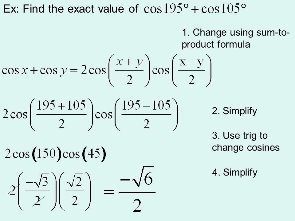 Ex: Find the exact value of