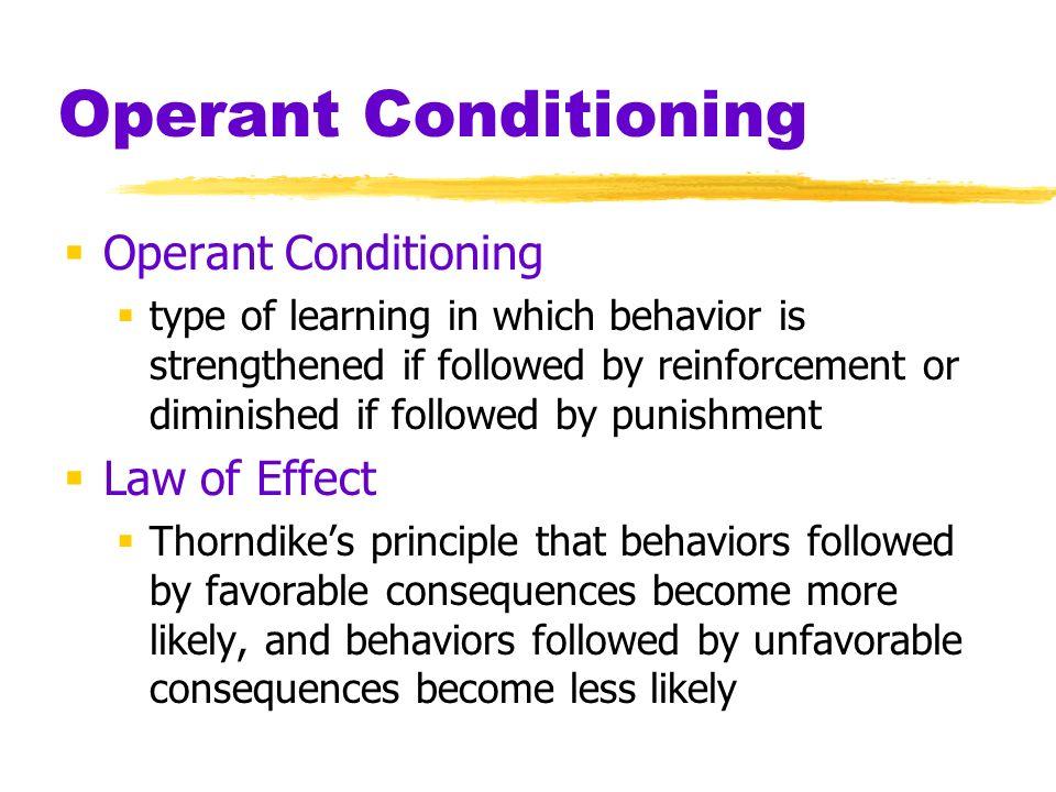 Operant Conditioning Operant Conditioning Law of Effect