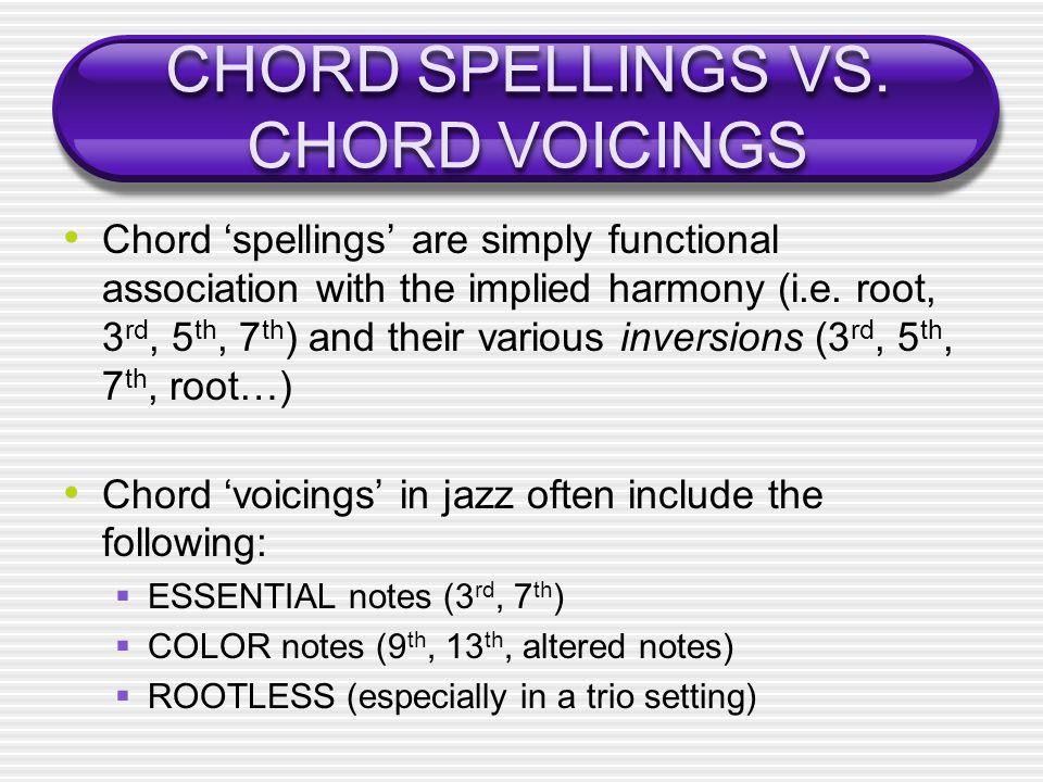 CHORD SPELLINGS VS. CHORD VOICINGS