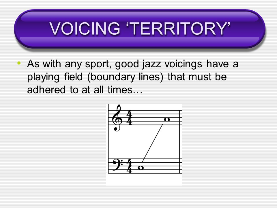 VOICING 'TERRITORY' As with any sport, good jazz voicings have a playing field (boundary lines) that must be adhered to at all times…