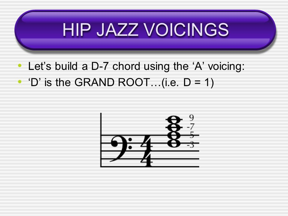 HIP JAZZ VOICINGS Let's build a D-7 chord using the 'A' voicing: