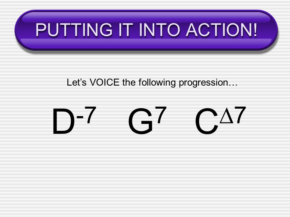 Let's VOICE the following progression…