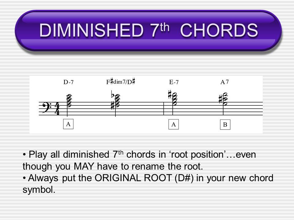 DIMINISHED 7th CHORDS • Play all diminished 7th chords in 'root position'…even. though you MAY have to rename the root.