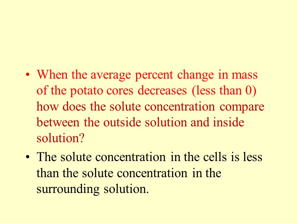 When the average percent change in mass of the potato cores decreases (less than 0) how does the solute concentration compare between the outside solution and inside solution