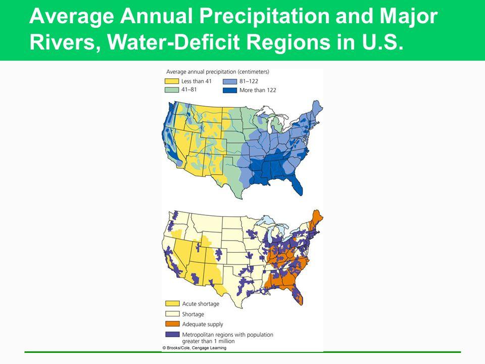Average Annual Precipitation and Major Rivers, Water-Deficit Regions in U.S.