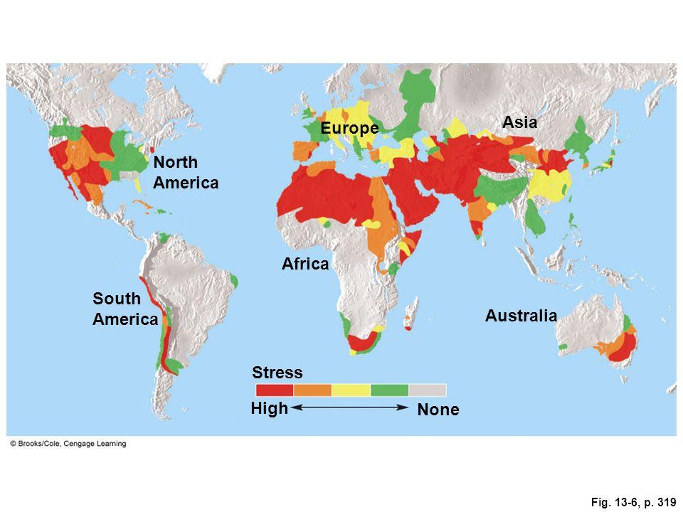 Asia Europe North America Africa South America Australia Stress High