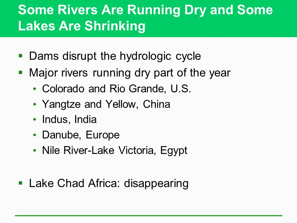 Some Rivers Are Running Dry and Some Lakes Are Shrinking
