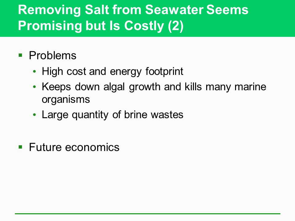 Removing Salt from Seawater Seems Promising but Is Costly (2)
