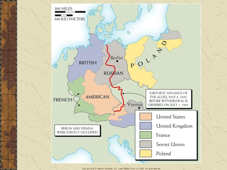 Map 29–2 OCCUPIED GERMANY AND AUSTRIA At the war's end, defeated Germany, including Austria, was occupied by the victorious Allies in the several zones shown here. Austria, by prompt agreement, was reestablished as an independent, neutral state, no longer occupied. The German zones hardened into an East Germany (the former Soviet zone) and a West Germany (the former British, French, and American zones). Berlin, within the Soviet zone, was similarly divided.