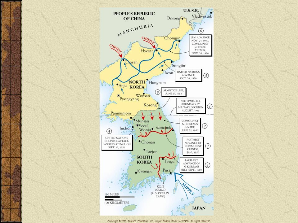 Map 29–5 KOREA, 1950–1953 This map indicates the major developments in the bitter three-year struggle that followed the North Korean invasion of South Korea in 1950.