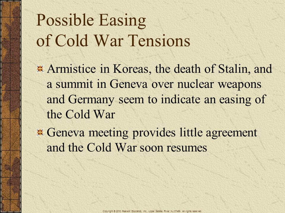 Possible Easing of Cold War Tensions