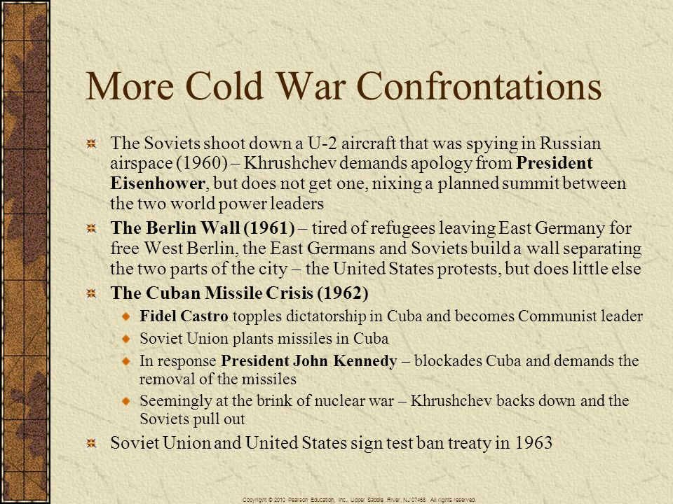 More Cold War Confrontations