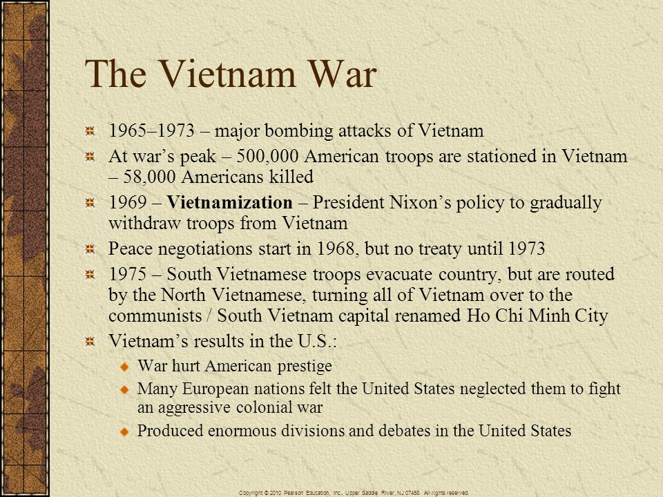 The Vietnam War 1965–1973 – major bombing attacks of Vietnam