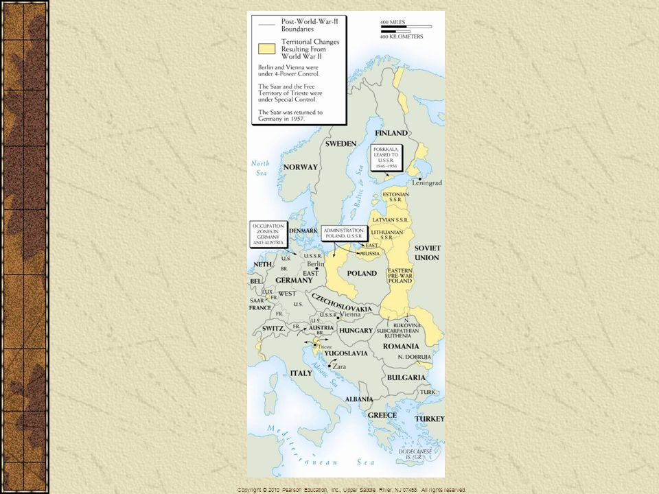 Map 29–1 TERRITORIAL CHANGES IN EUROPE AFTER WORLD WAR II The map shows the shifts in territory that followed the defeat of the Axis. No treaty of peace formally ended the war with Germany.