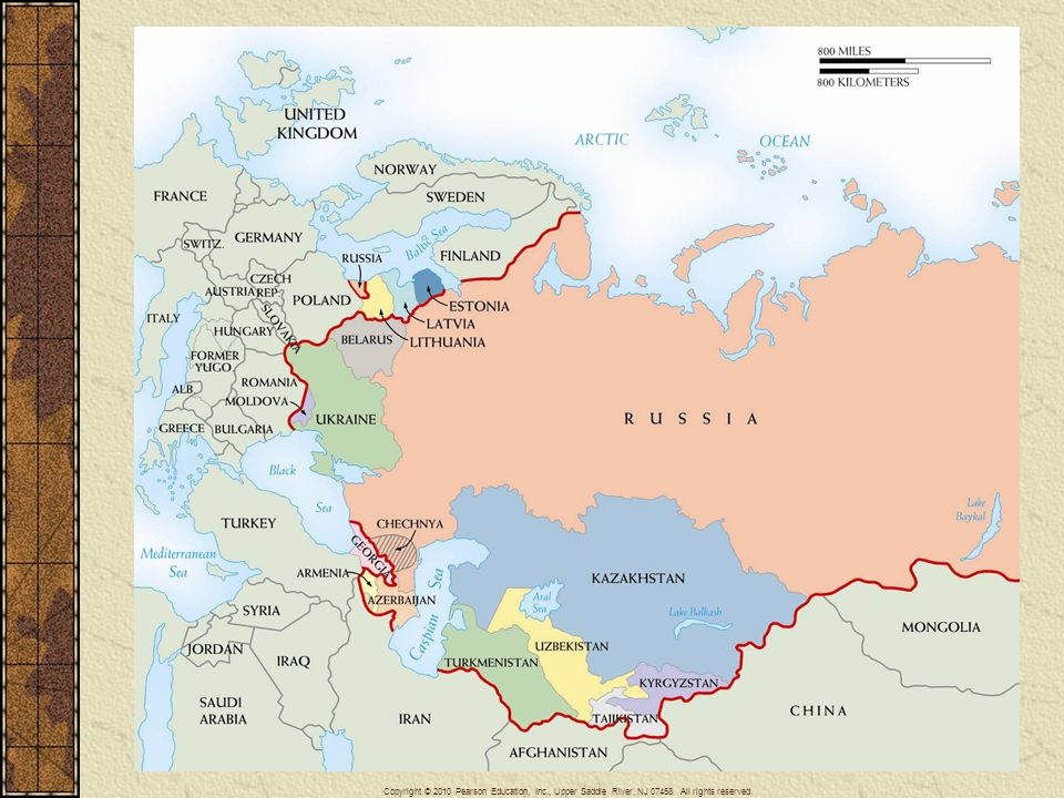 Map 29–9 THE COMMONWEALTH OF INDEPENDENT STATES In December 1991 the Soviet Union broke up into its fifteen constituent republics. Eleven of these were loosely joined in the Commonwealth of Independent States. Also shown is the autonomous region of Chechnya, which has waged two bloody wars with Russia in the last decade.