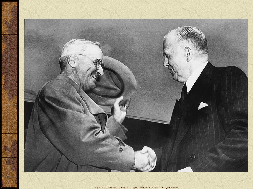 President Harry Truman greets Secretary of State George Marshall returning from Europe. Truman and Marshall were the architects of American foreign policy during the early years of the Cold War.