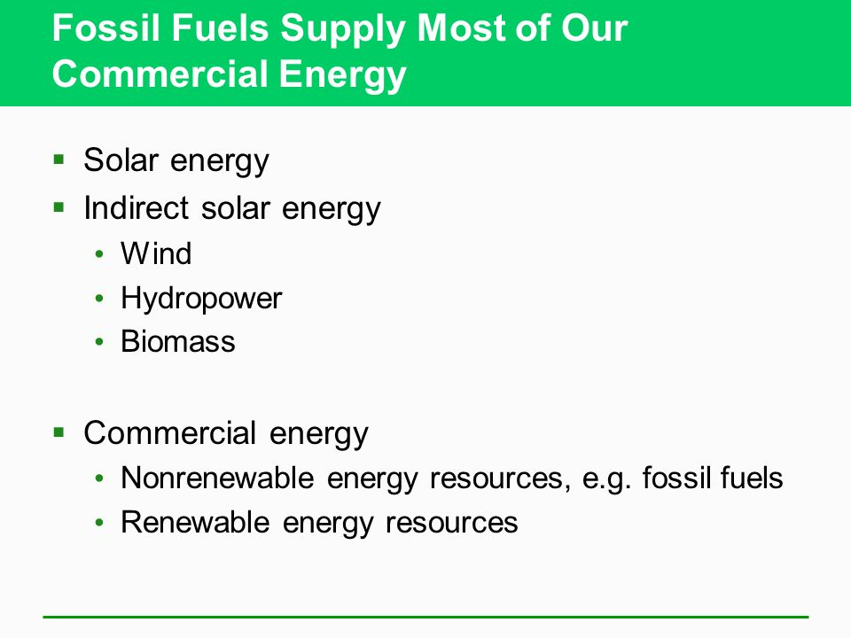 Fossil Fuels Supply Most of Our Commercial Energy