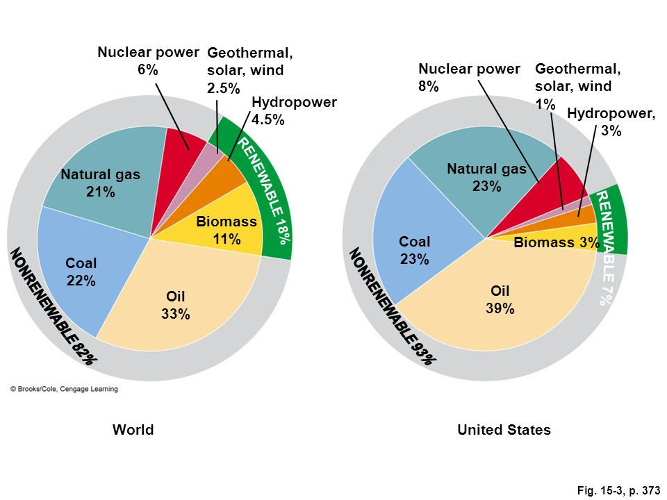 Geothermal, solar, wind 2.5% Nuclear power 8%