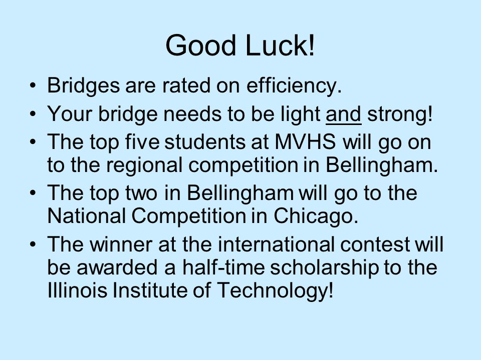 Good Luck! Bridges are rated on efficiency.