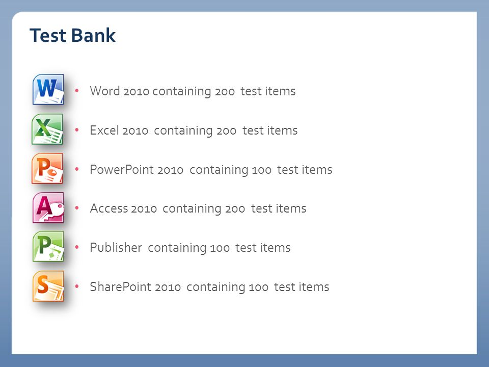 Test Bank Word 2010 containing 200 test items