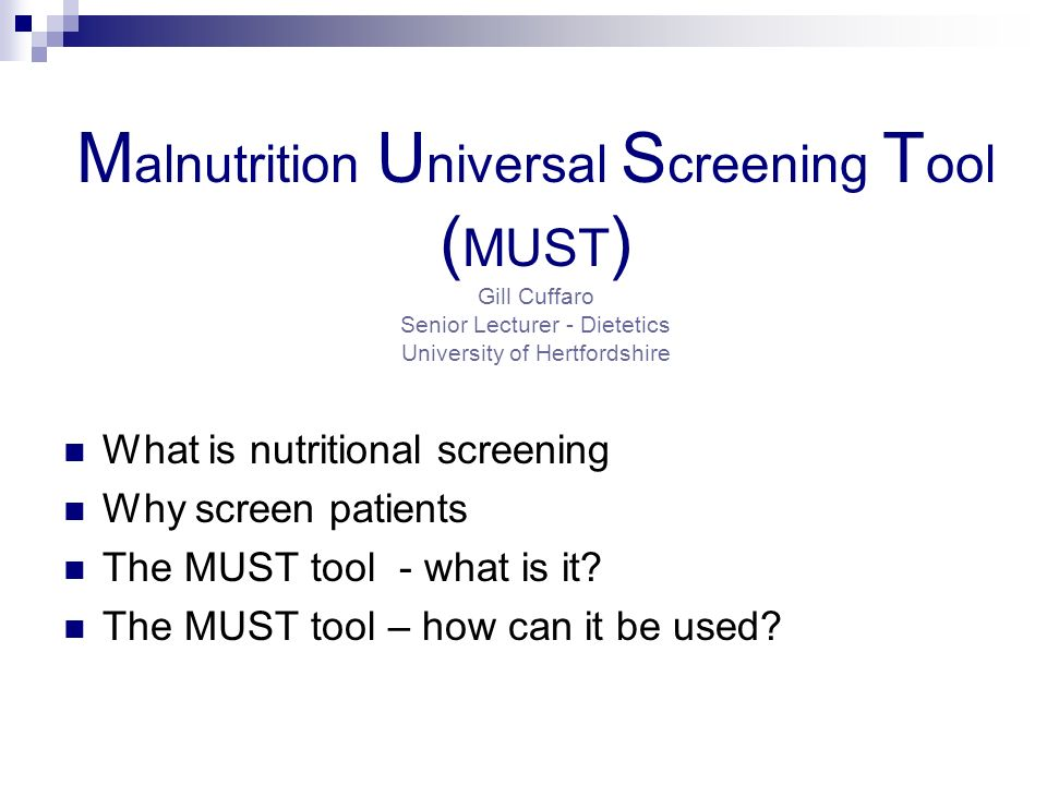 examining the reliability of malnutrition universal screening tool nursing essay Waterlow pressure ulcer prevention/treatment policy sex age malnutrition screening tool (mst) (nutrition vol15, no6 1999—australia) male female.