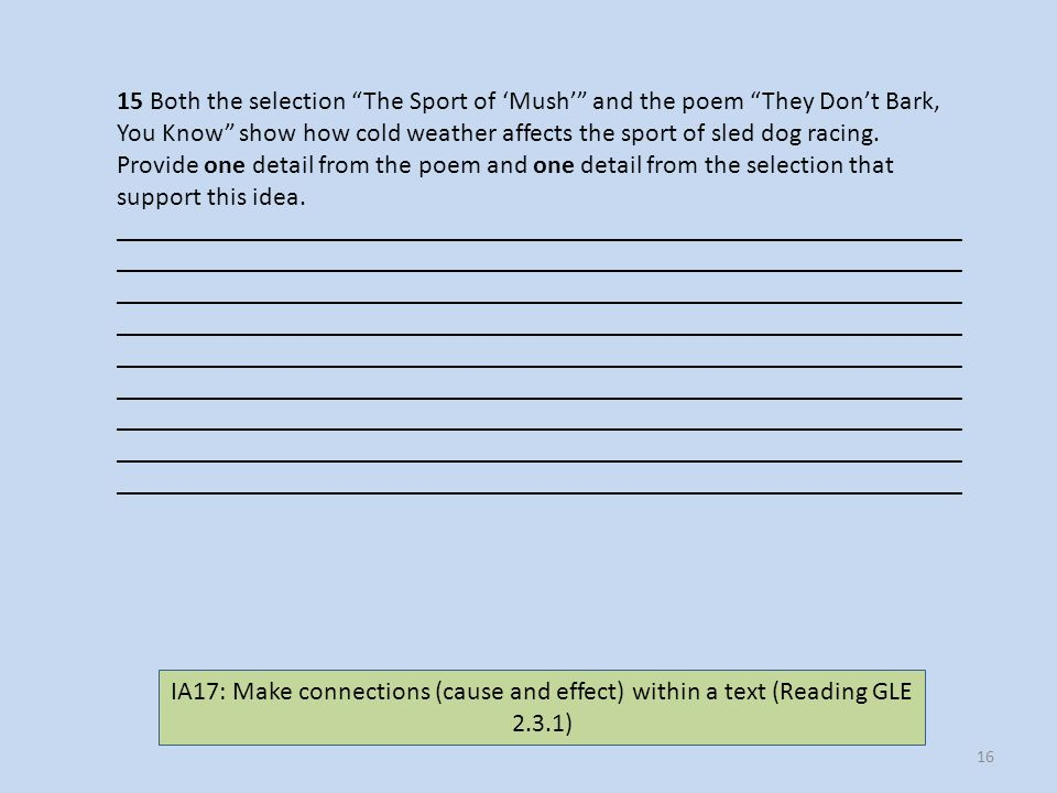 15 Both the selection The Sport of 'Mush' and the poem They Don't Bark,