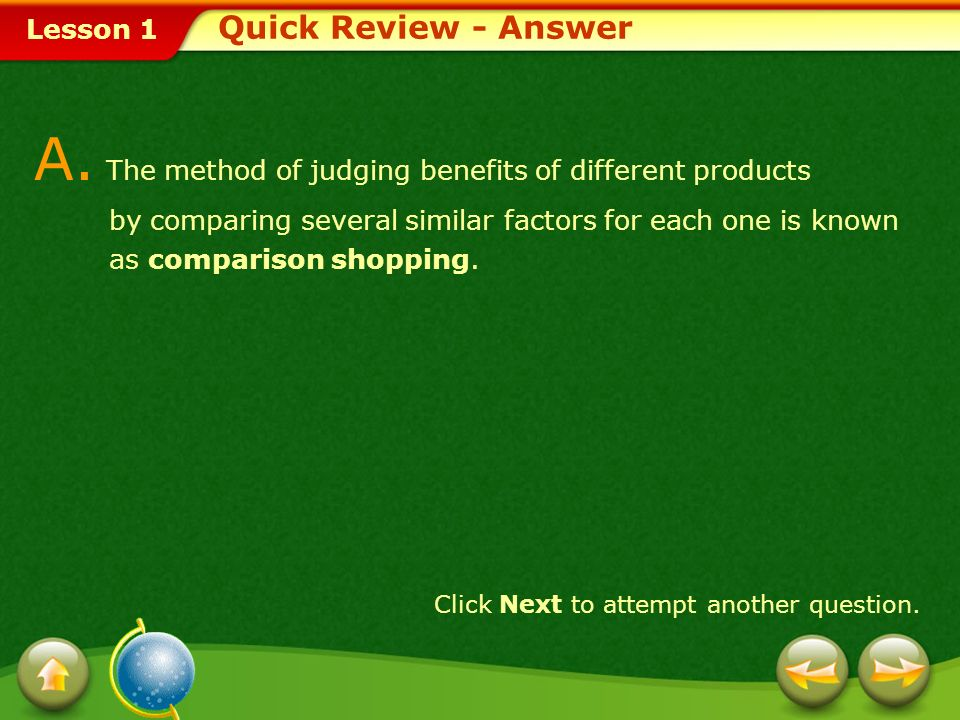 A. The method of judging benefits of different products