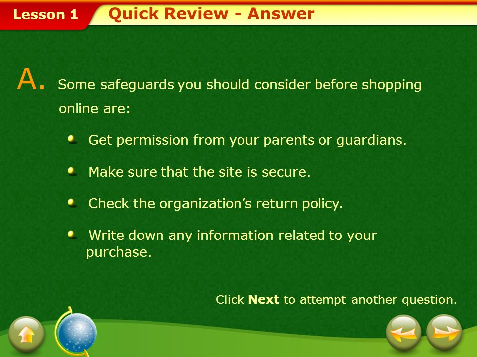 A. Some safeguards you should consider before shopping