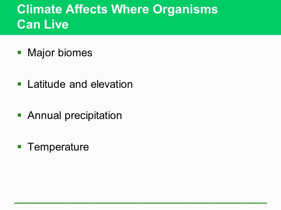 Climate Affects Where Organisms Can Live