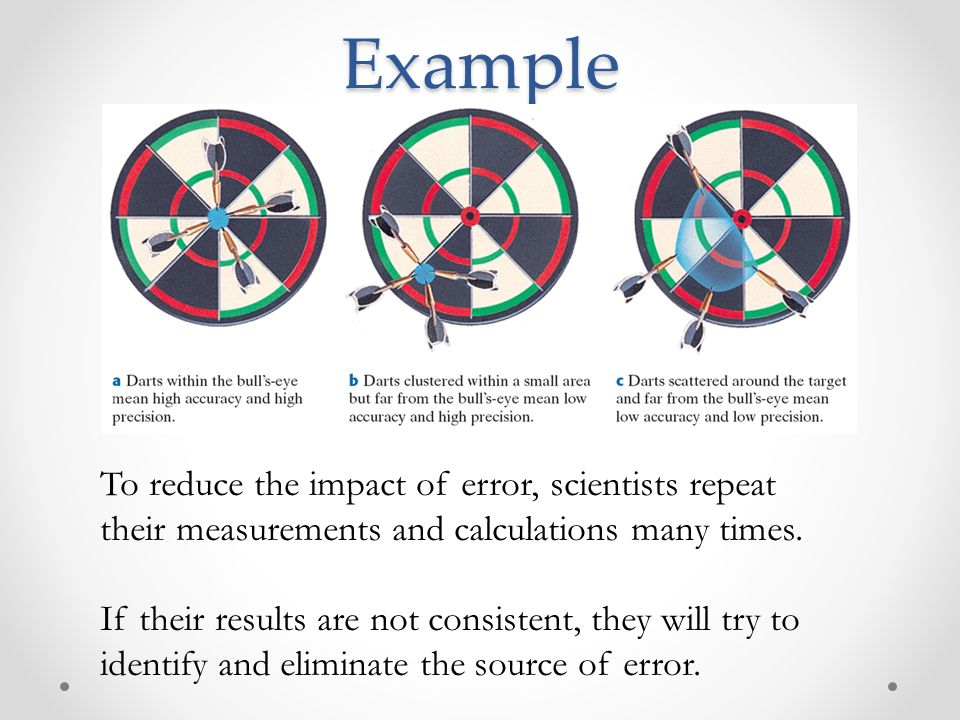 Example To reduce the impact of error, scientists repeat their measurements and calculations many times.