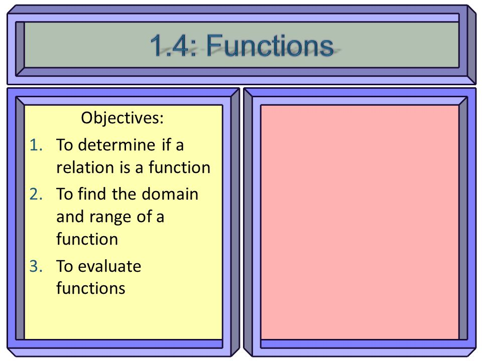 1.4: Functions Objectives: To determine if a relation is a function