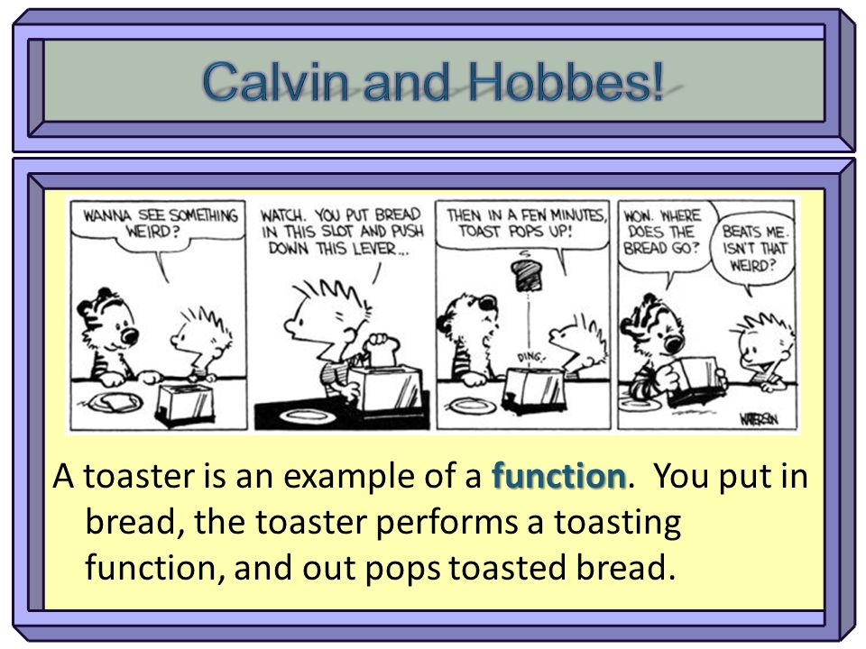 Calvin and Hobbes. A toaster is an example of a function.