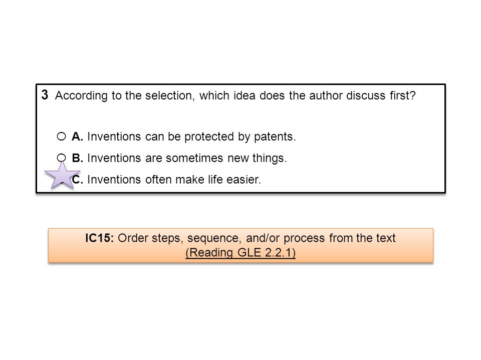 IC15: Order steps, sequence, and/or process from the text
